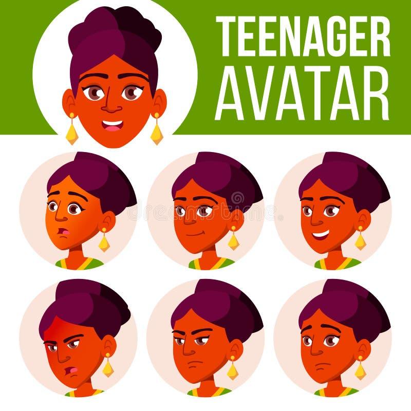 Jugendlich Mädchen-Avatara-gesetzter Vektor Stellen Sie Gefühle gegenüber Kinder Inder, Hindu Asiatisch Schön, lustig Karikatur-H lizenzfreie abbildung