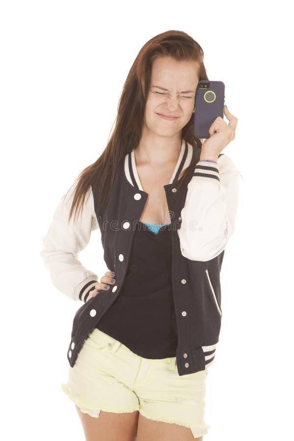 Jugendlich Mädchen frustriert mit Handy. stockfotos