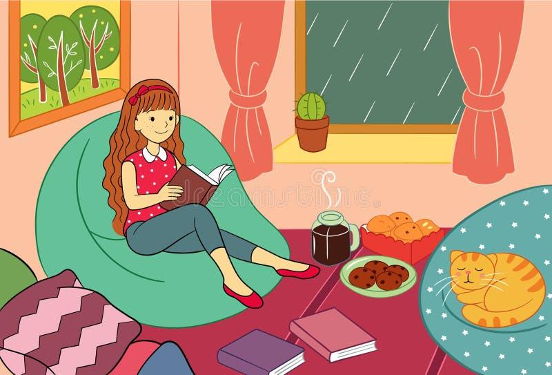 Jugendlich Mädchen genießen, an der regnerischer Tagesvektor-Illustration zu lesen lizenzfreie abbildung