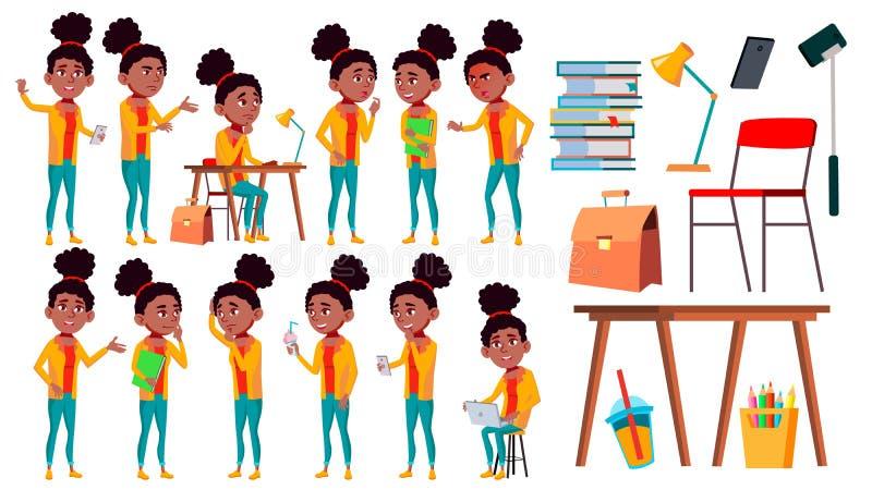 Jugendlich Mädchen-Haltungen eingestellter Vektor Freizeit, Lächeln schwarzes Afroamerikanisch Für Netz Broschüre, Plakat-Design  stock abbildung