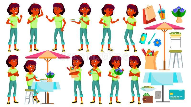 Jugendlich Mädchen-Haltungen eingestellter Vektor Inder, Hindu Asiatisch Gesicht Kinder Für Netz Broschüre, Plakat-Design Lokalis lizenzfreie abbildung
