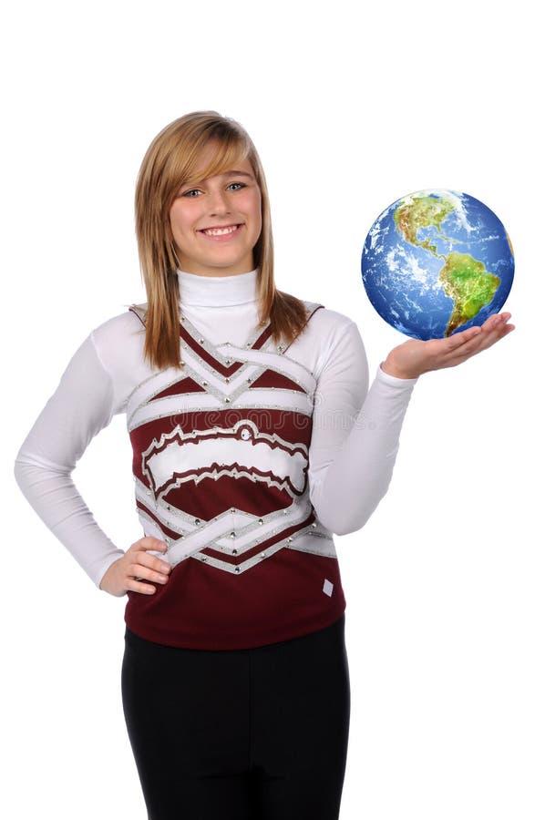Download Jugendlich Mädchen-Holding-Erde Stockfoto - Bild von attraktiv, cheerleader: 9089030