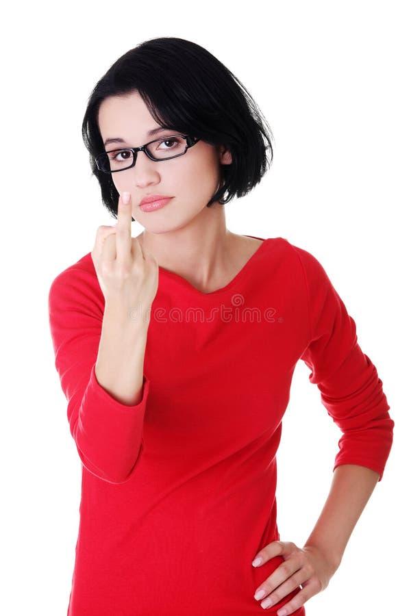 Download Jugendlich Mädchen Mit Dem Mittleren Finger Oben Stockbild - Bild von obszön, hand: 27729243