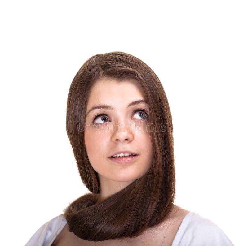 Jugendlich Mädchen mit den langen Haaren und sauberer Haut lizenzfreies stockbild
