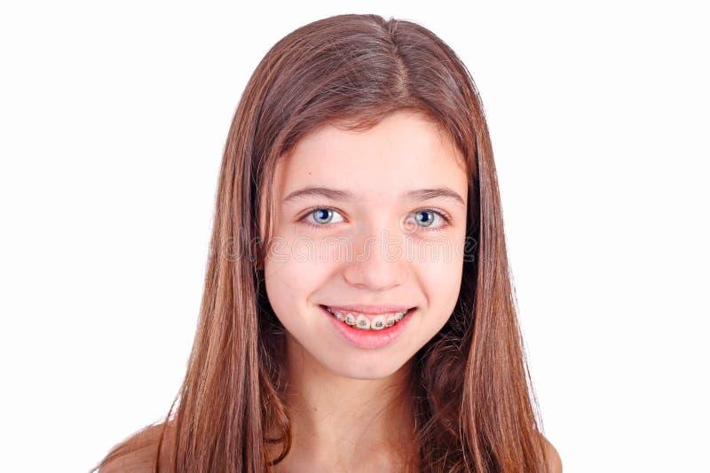 Jugendlich Mädchen mit Haltern stockbild