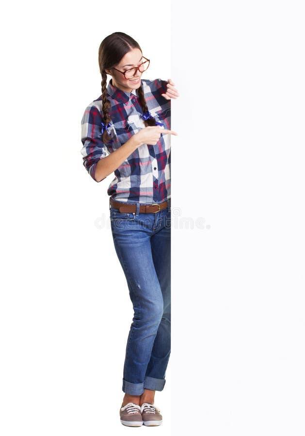 Jugendlich Mädchen mit Plakat stockfotografie
