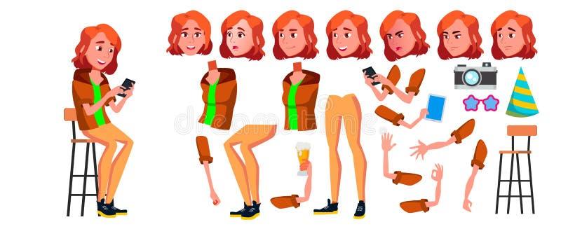 Jugendlich Mädchen-Vektor Animations-Schaffungs-Satz Gesichts-Gefühle, Gesten Erwachsene Leute beiläufig belebt Für Darstellung vektor abbildung