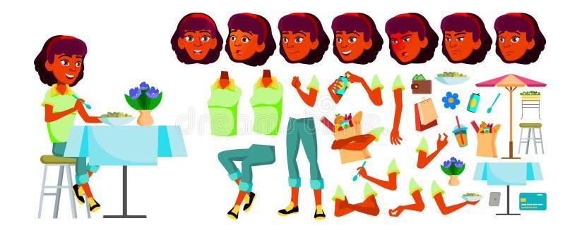 Jugendlich Mädchen-Vektor Animations-Schaffungs-Satz Gesichts-Gefühle, Gesten Inder, Hindu Asiatisch Emotional, Haltung belebt fü stock abbildung