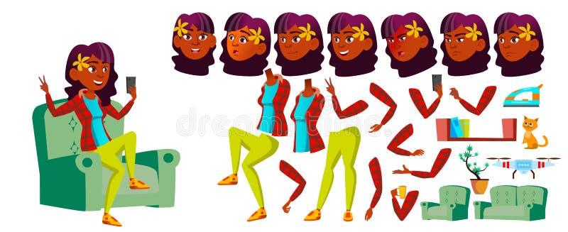 Jugendlich Mädchen-Vektor Animations-Schaffungs-Satz Inder, Hindu Asiatisch Gesichts-Gefühle, Gesten Recht Jugend belebt für vektor abbildung