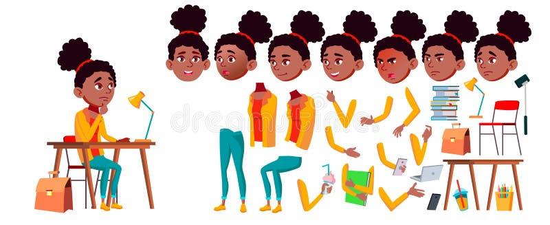 Jugendlich Mädchen-Vektor Animations-Schaffungs-Satz schwarzes Afroamerikanisch Gesichts-Gefühle, Gesten Positive Person belebt f vektor abbildung