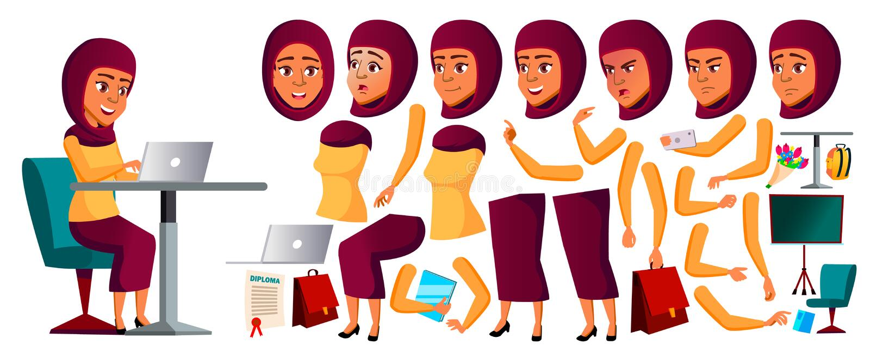Jugendlich Mädchen-Vektor Araber, Moslem Animations-Schaffungs-Satz Gesichts-Gefühle, Gesten Kaukasier, positiv belebt für stock abbildung