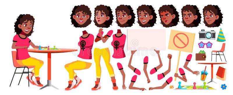 Jugendlich Mädchen-Vektor schwarzes Afroamerikanisch Animations-Schaffungs-Satz Gesichts-Gefühle, Gesten Freizeit, Lächeln belebt vektor abbildung