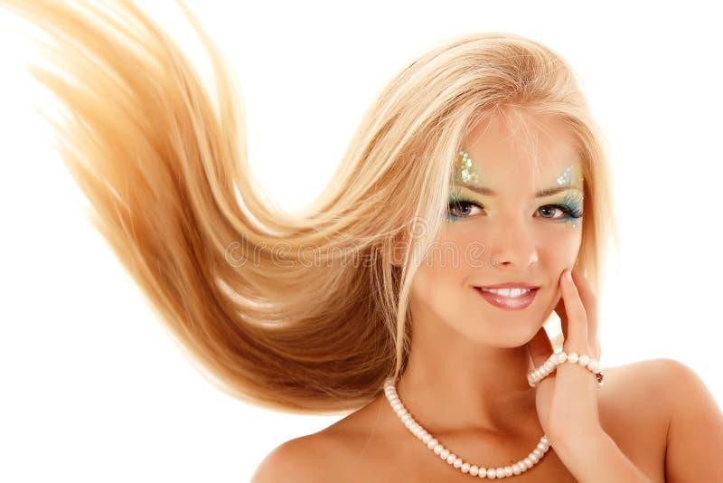 Jugendlich Mädchenmeerjungfrauschönes lokalisiert auf Weiß stockbild