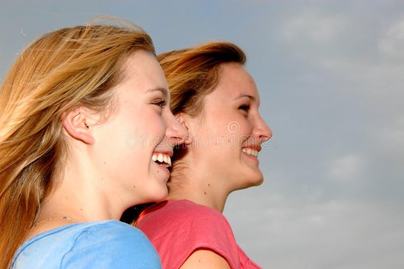 Jugendlich Mädchenprofile lizenzfreie stockfotos