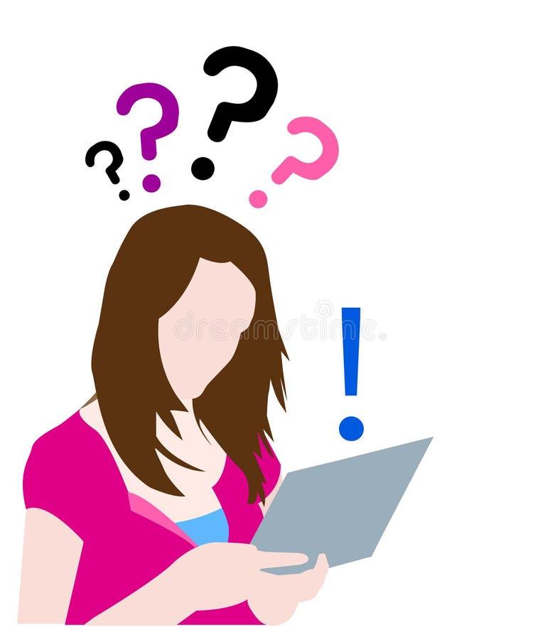 Jugendlich mit den Fragen, die auf Web suchen vektor abbildung
