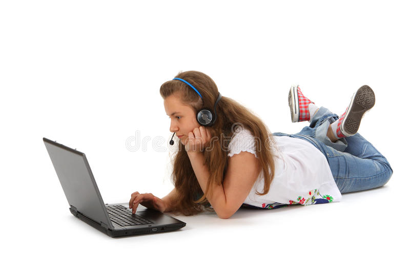 Jugendlich mit Laptop stockfotografie
