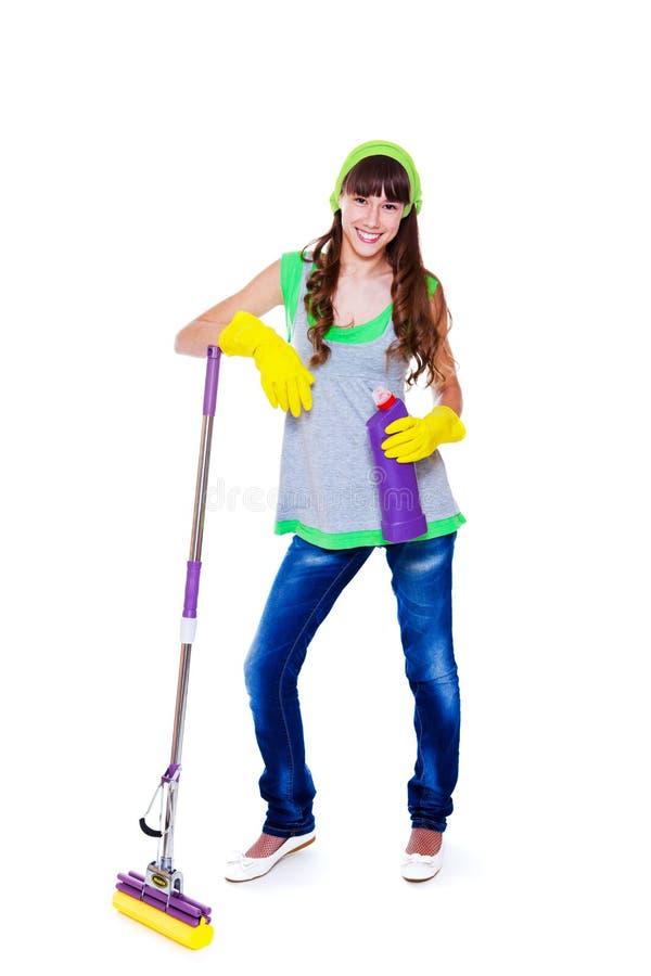 Jugendlich mit Mopp und Reiniger stockbilder