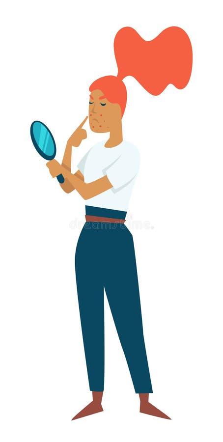 Jugendlich Problemaknepubertäts-Hautmädchen mit Spiegel lokalisierter weiblicher Figur vektor abbildung