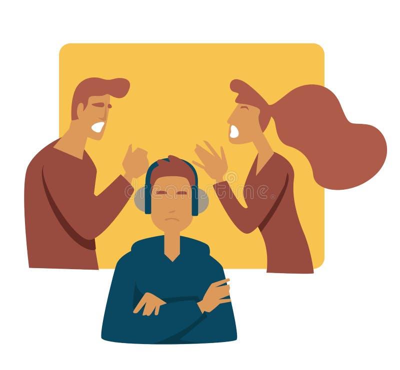 Jugendlich Problemeltern, die Druckmuttervater und -sohn in den Kopfhörern argumentieren lizenzfreie abbildung