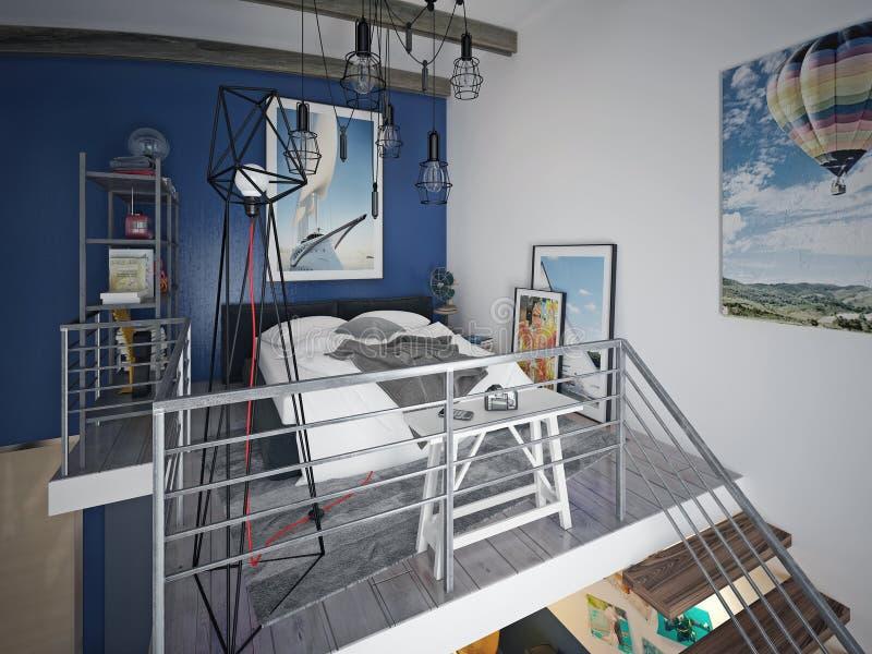 Jugendlich Schlafzimmerdachbodenart lizenzfreie abbildung