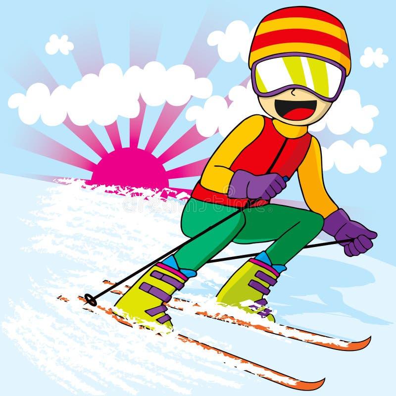 Jugendlich Skifahren fasten lizenzfreie abbildung