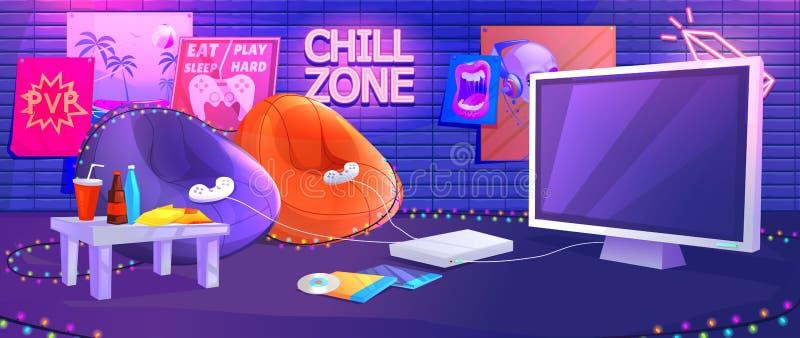Jugendlich Spielrauminnenraum Spielvideospiele auf der Konsole mit bequemen Lehnsesseln und Imbissen für Gamers lizenzfreie abbildung