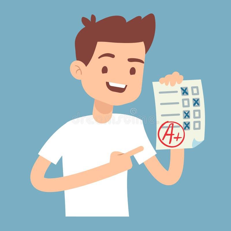 Jugendlich Student halten Papier mit perfekter Schulprüfungstest-Vektorillustration stock abbildung