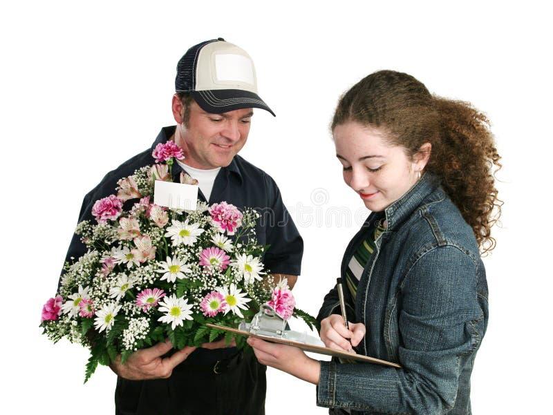Jugendlich Zeichen für Blumen stockfoto