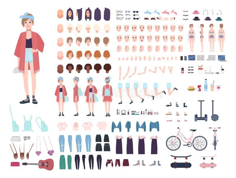 Jugendlichcharaktererbauer Junger modischer Mädchenschaffungssatz Verschiedene Lagen, Frisur, Gesicht, Beine, Hände stock abbildung
