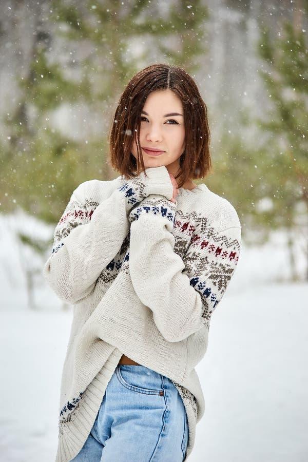 Jugendliche in den Winterwaldschneefällen stockfotos