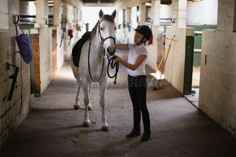 Jugendliche, die mit Pferd steht stockfotografie