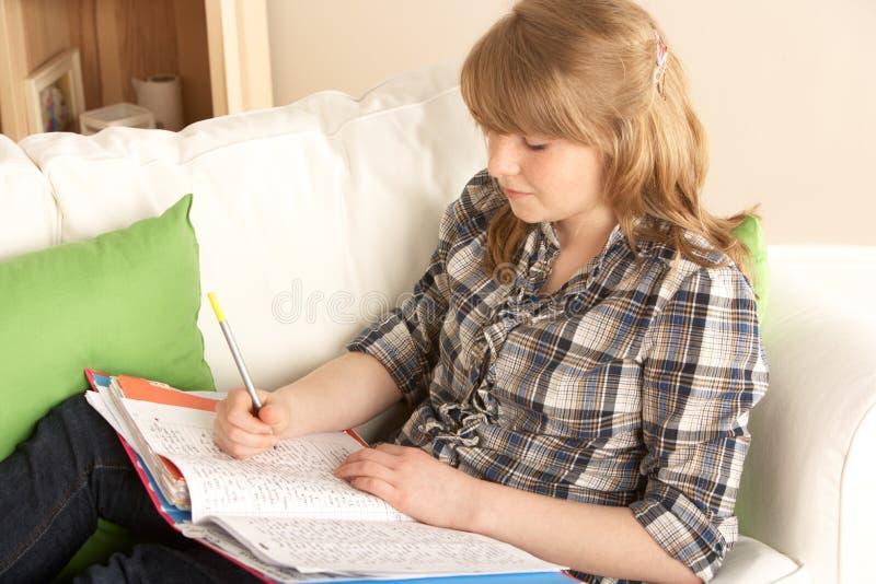 Jugendliche, die zu Hause studiert stockfotografie