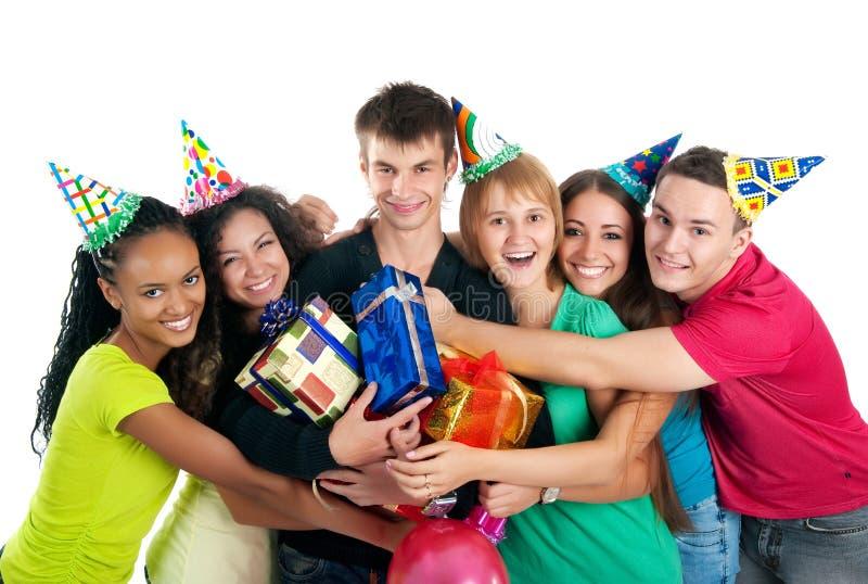 Jugendliche feiern Geburtstag stockfotografie