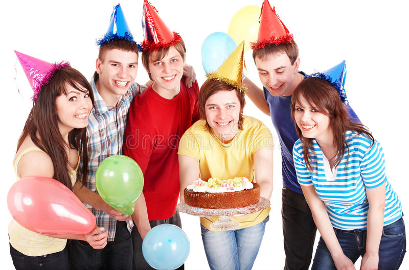 Jugendliche gruppieren im Partyhut. stockbilder