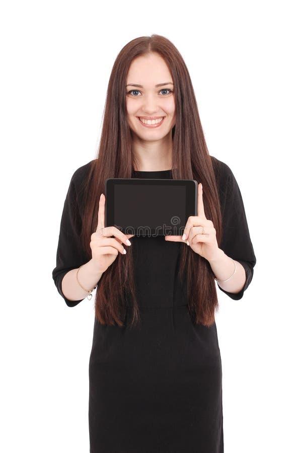 Jugendlichegefühle Mädchen, das einen leeren Tablettenschirm zeigt stockfotos