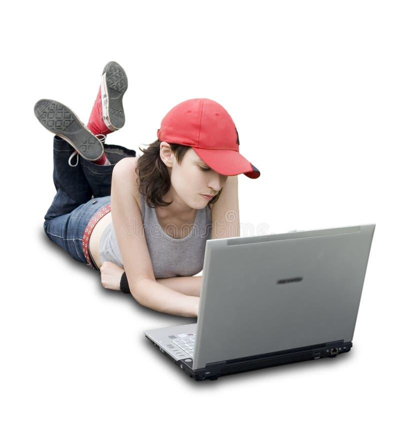 Jugendlicher/Kursteilnehmer mit Laptop stockbild