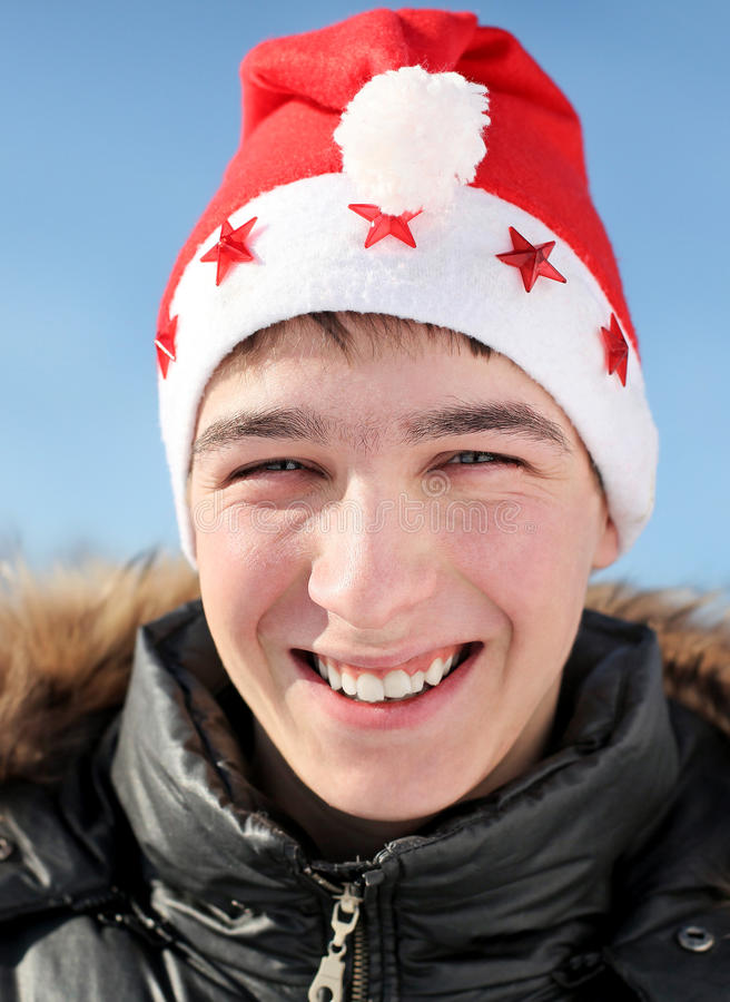 Jugendlicher in Santa Hat stockfoto