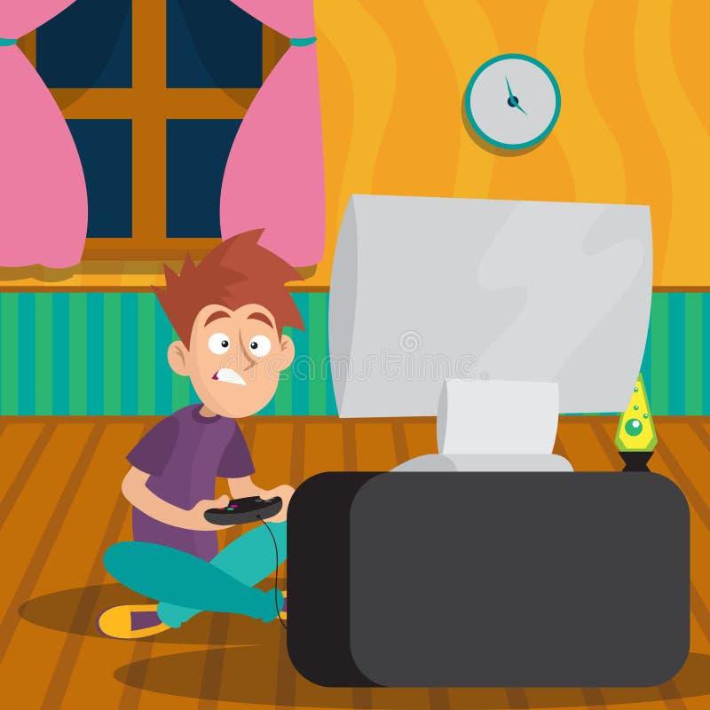 Jugendlichjunge, der im Videospiel am Raum spielt Karikaturkindercharakter, der auf Boden vor Fernsehen mit Steuerknüppel in den  vektor abbildung