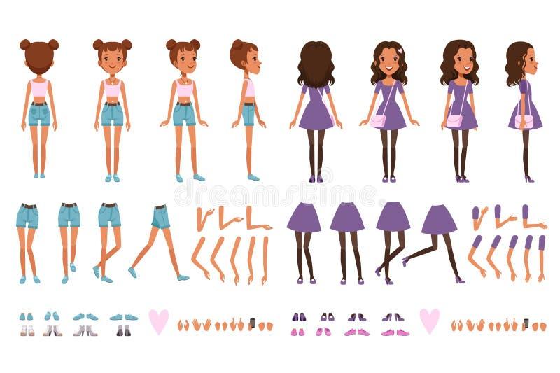 Jugendlichmädchen-Charaktererbauer, Schaffungssatz Front in voller Länge, Rückseite und Seitenansicht Körperteile und Sammlung vo lizenzfreie abbildung