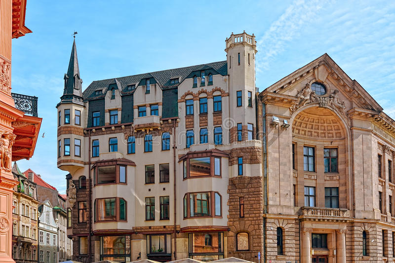 Jugendstil architecture. Building in medieval town of Riga, Latvia royalty free stock photos