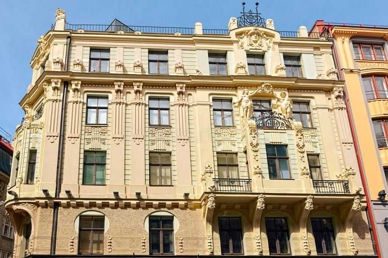 Jugendstil architecture. Building in medieval town of Riga, Latvia royalty free stock photography