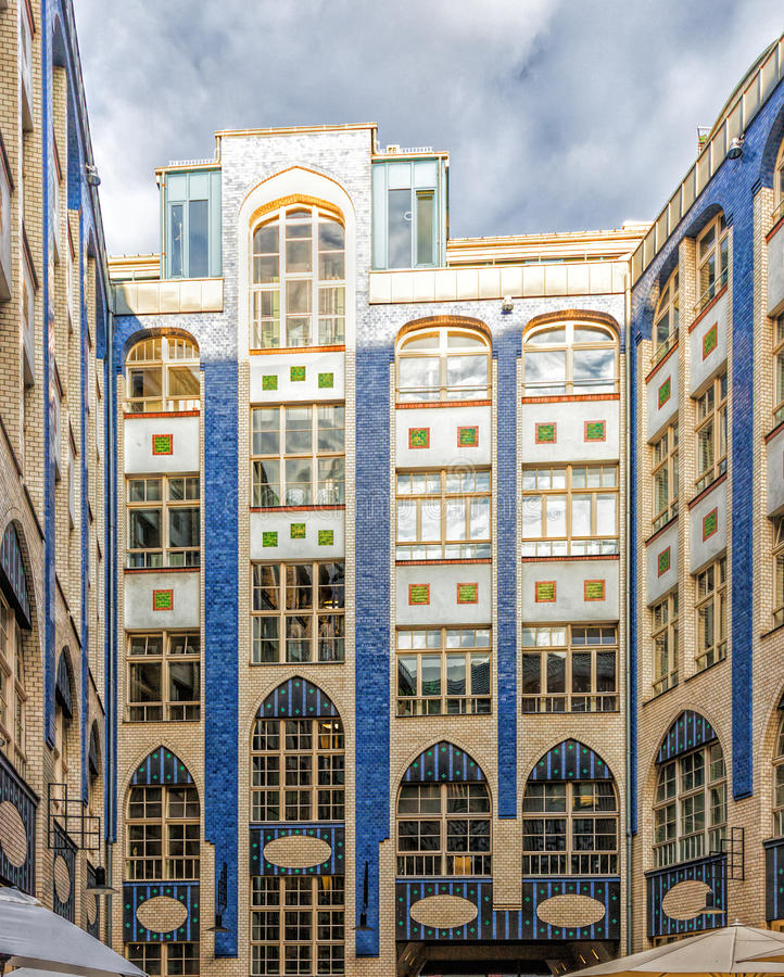 The Jugendstil - Art Nouveau - architecture of the Hackescher Ho. F in Berlin, Germany stock image