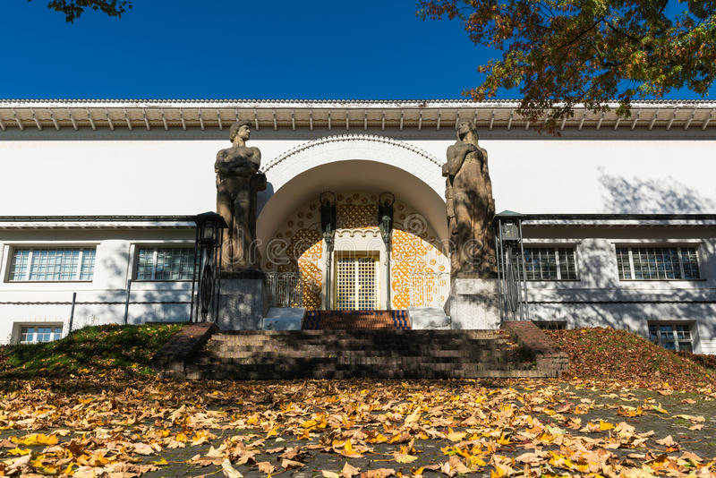 Jugendstil in Darmstadt. Side entrance to the Jugendstil Museum in Darmstadt, Germany, on a clear Autumn day royalty free stock photos