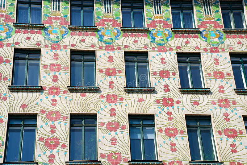 Jugendstil facade in VIenna. Art Nouveau or its Austrian version Jugendstil is an international philosophy and style of art, architecture and applied art— royalty free stock image