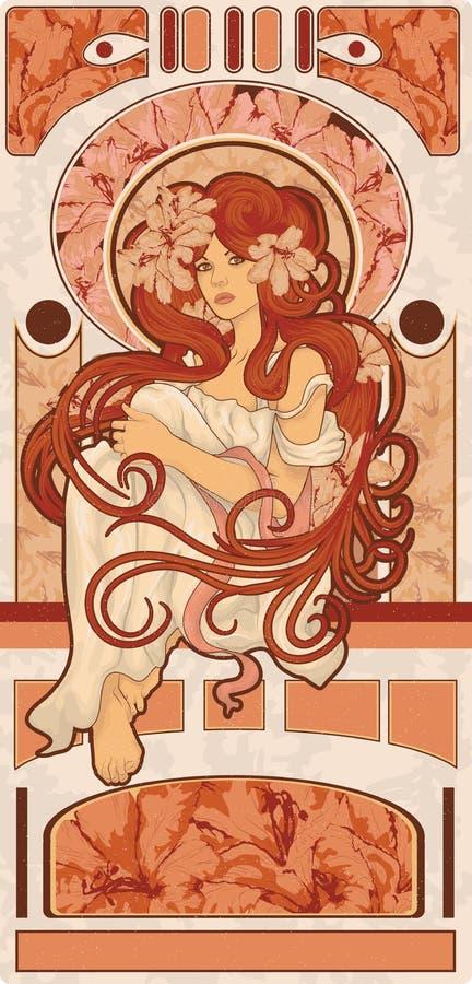 Jugendstil gestileerde vrouw met lang gedetailleerd flowin vector illustratie
