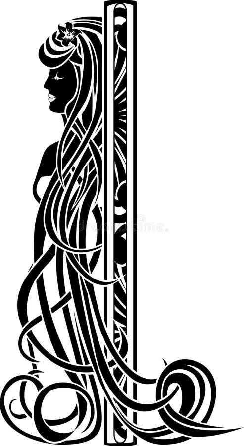 Jugendstil-Mädchen mit dem langen Haar vektor abbildung