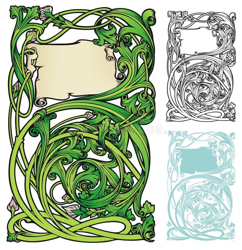 Jugendstil swirly bookplate stock illustratie