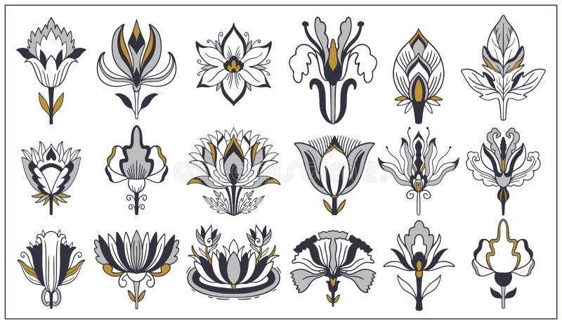 Jugendstil- und Art- DecoBlumenverzierungen, moderne Blumenweinleseelemente Retro- Dekorationsart Symboltätowierung vektor abbildung