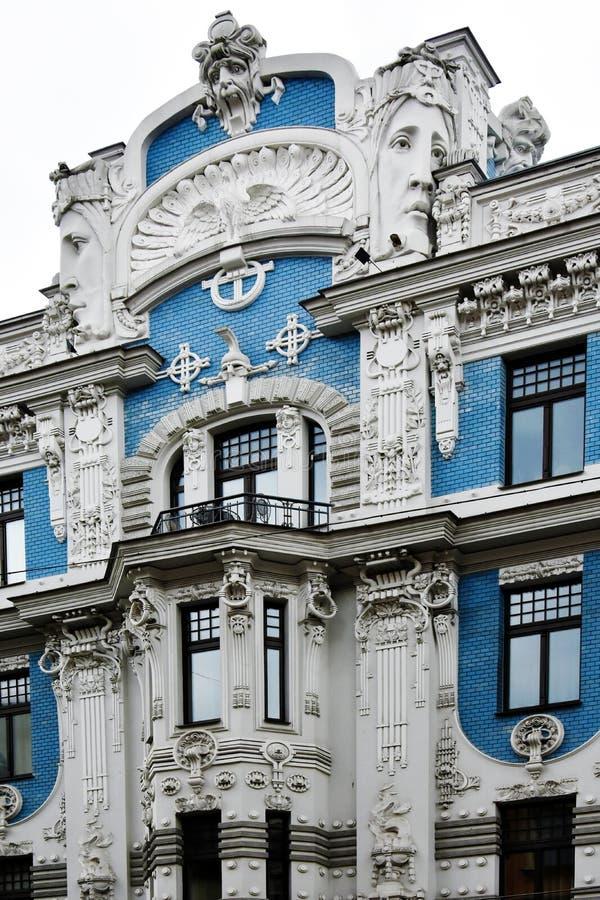 Jugendstilbezirk in Riga, Lettland stockbilder