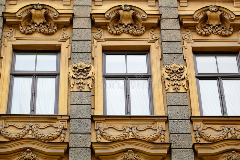 Jugendstyle in Riga. Vintage building in jugendstyle (Art Nouveau) in Riga, Latvia. Architecture detail. Historical building stock photos